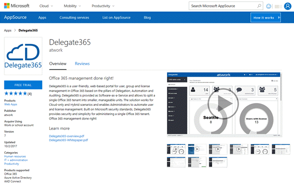 Try Delegate365 in the Microsoft App Source Store